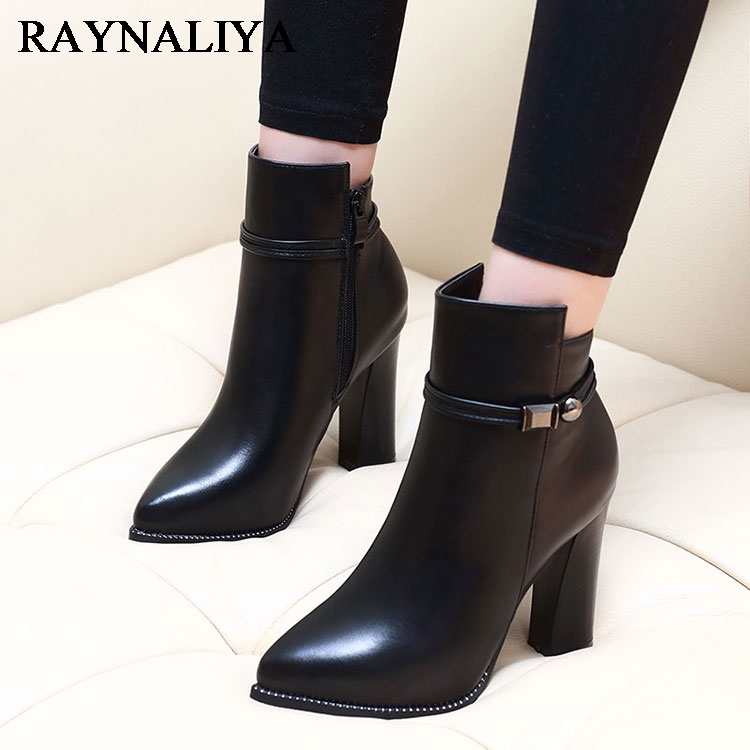 Women Side Zipper Comfortable Square Heel Ankle Boots Fashion Pointed Toe Keep Warm Winter Shoes Black Sheepskin Boots CH-A0001 women kid suede lace up comfortable square heel knee high boots fashion pointed toe keep warm winter shoes black khaki