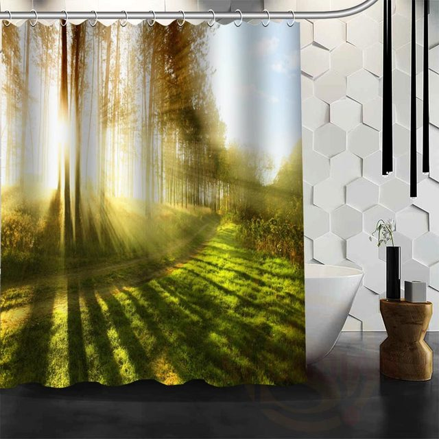 Best Nice Custom Forests Road Landscape Nature Shower Curtain Bath Waterproof Fabric For Bathroom MORE SIZE WJY25