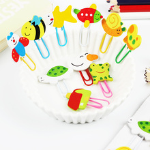 12PCS Cute Animal Painted Wooden Paperclip Burst Models Stationery Learning Office Supplies