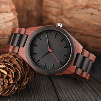 Natural Wood Bamboo Watch Men Causal Red Sandalwood Quartz Wristwatch Male Simple Wood Strap Relogio Masculino Montre Homme