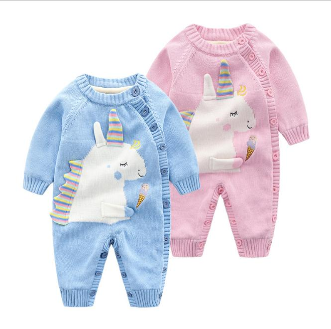 Winter baby unicorn knit romper infant boy girl sweater rompers cotton thick jumpsuit wool warm newborn clothing for children цена