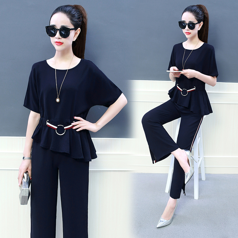 New design Fashion womens outfit new chiffon blouse with belt loose wide-legged pants two-piece clothing set vestido O neck