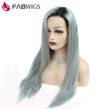 Fabwigs Ombre Grey Glueless Lace Front Wig with Baby Hair 130 Density T1B Grey Brazilian Lace