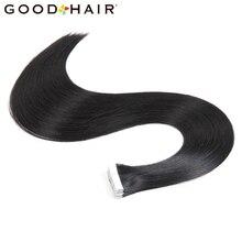 Хорошие волосы Клейкие ленты в Пряди человеческих волос для наращивания 20 шт. прямо бразильский волос на Клеящие средства Невидимый Клейкие ленты pu кожа утка 7 видов цветов доступны