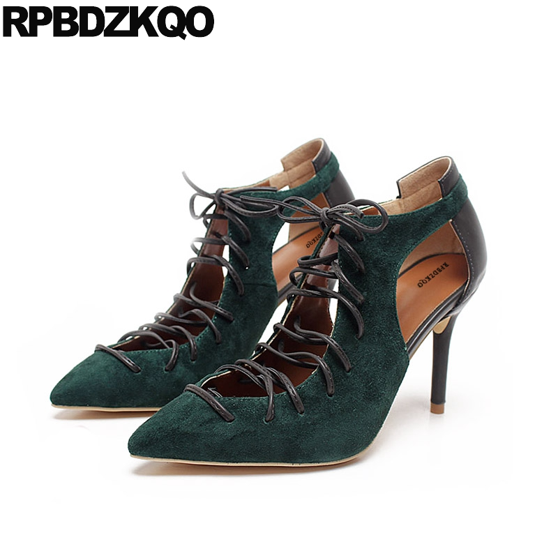Summer 2017 Cut Out Designer Shoes Women Luxury Strange Thin Stiletto Green Pumps Lace Up Pointed Toe Sandals Sexy Booties