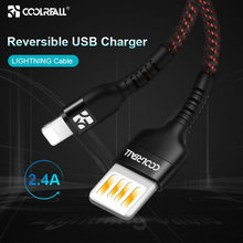 Coolreall USB for iPhone cable  Reversible 2.4A fast charging XR XS Max X 8 Plus mobile phone charger cord data