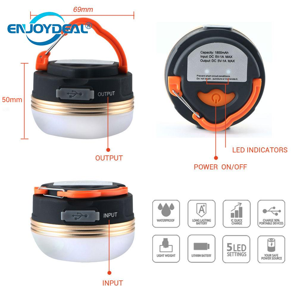 New Portable Rechargeable LED USB Hiking Camping Tent Lantern Light Lamp Outdoor