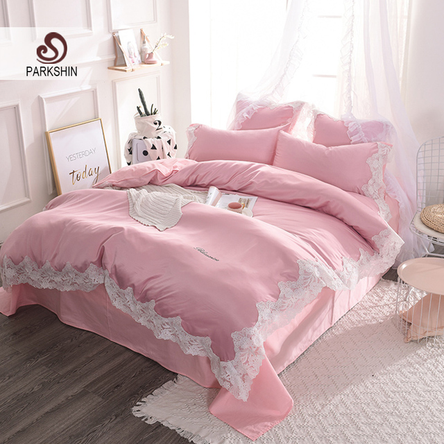 ParkShin Luxury Lace Rim Pink Silk Bedding 100% Silk Set Home Textiles Soft  Silky Duvet