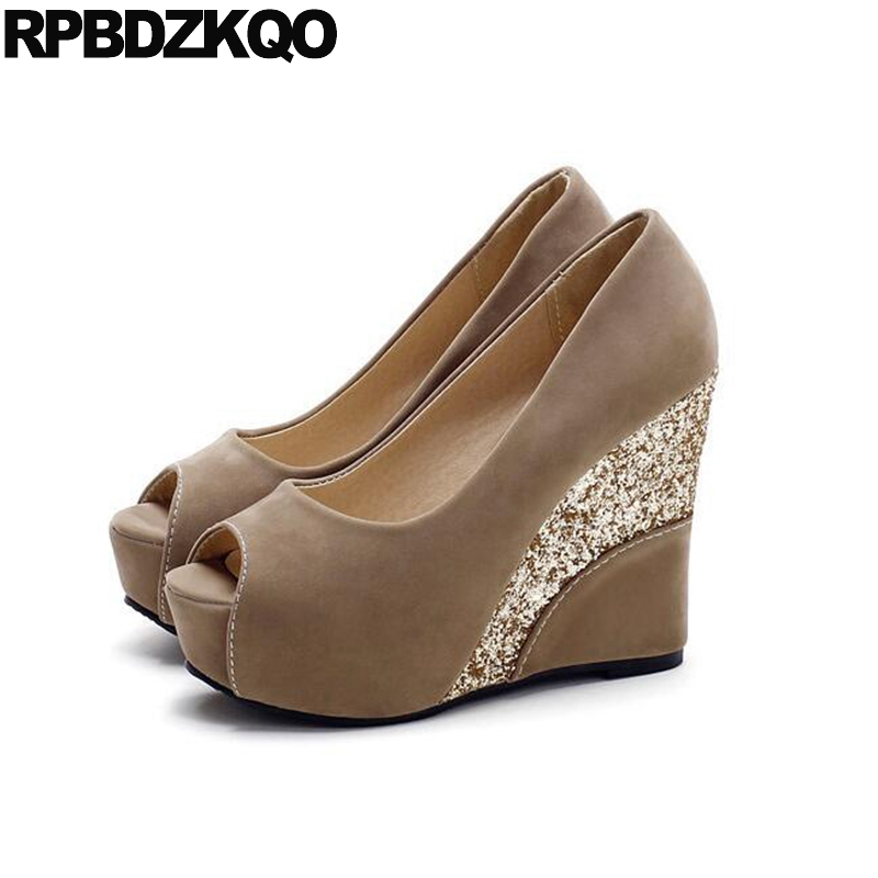 Peach Bride Round Toe Fish Mouth Bridal Ultra Suede Shoes Peep High Heels Size 33 Pumps Glitter Extreme Prom Ladies Super Wedge недорго, оригинальная цена