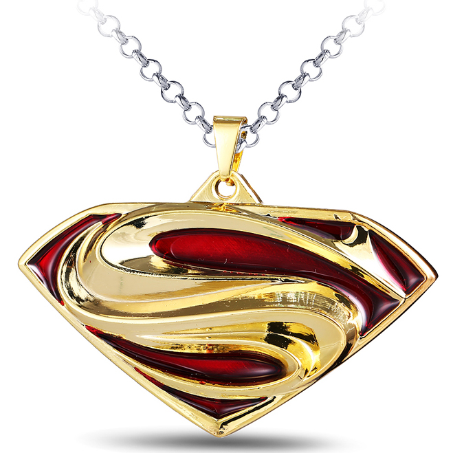 MS JEWELS Superhero Superman Metal S Logo Pendant Necklace Cosplay Jewelry Gifts Accessories