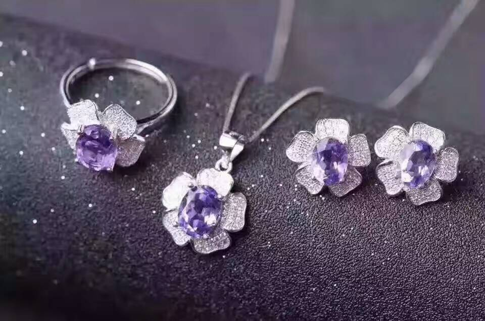 Natural amethyst jewelry sets natural gemstone ring earrings Pendant S925 silver Fashion Romantic Roses Women party Jewelry SetNatural amethyst jewelry sets natural gemstone ring earrings Pendant S925 silver Fashion Romantic Roses Women party Jewelry Set