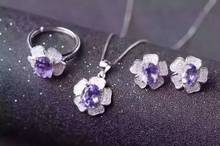 Natural amethyst jewelry sets natural gemstone ring earrings Pendant S925 silver Fashion Romantic Roses Women party Jewelry Set