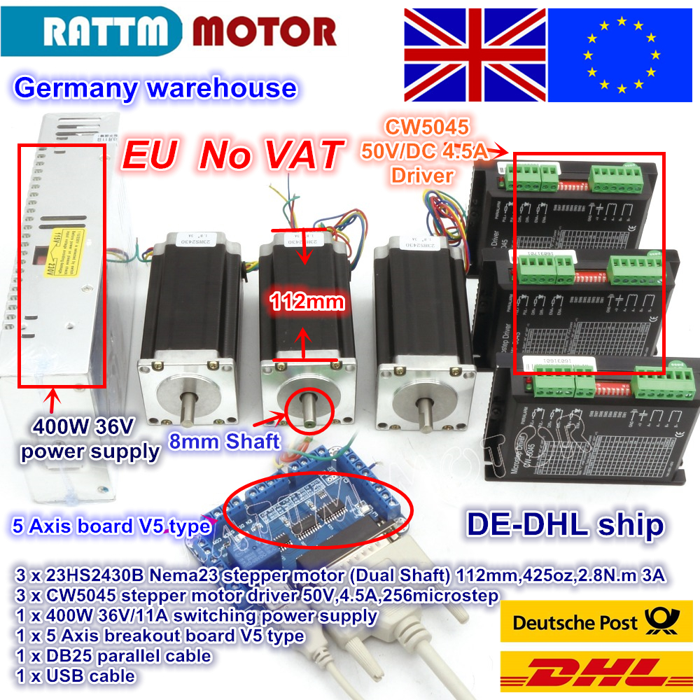 EU free VAT 3 Axis CNC controller Nema23 425 Oz-in Dual shaft Stepper Motor+ 256 Microstep Driver CNC Engraving Milling machine de ship free vat 4 axis nema23 425 oz in dual shaft stepper motor cnc controller kit