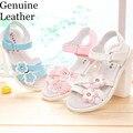 Новый 1 пара Цветок Из Натуральной Кожи Детская обувь девушка сандалии, внутренние 16.1-23.5 см, супер Качество Детская Одежда Обувь