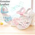 New 1 pair Flower Genuine Leather Children shoes girl sandals, inner 16.1-23.5cm, Super Quality Kids Shoes