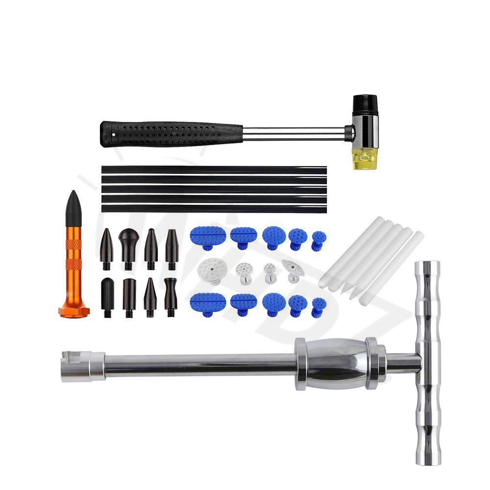 PDR Tool Dent Repair Kit - PDR Slide Hammer with Tap Down - Paintless Dent Repair - PDR Glue Tabs paintless dent repair pdr tools aluminum tap down hammer pdr slide hammer pdr glue tabs wedge t bar puller car dent fix auto