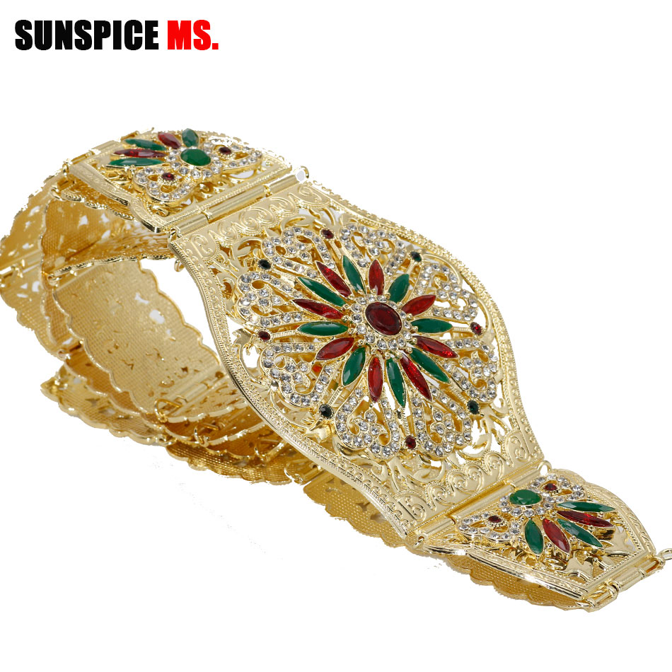 SUNSPICE-MS Morocco Women Gold Belt For Wedding Dress Colorful Rhinestones Ethnic Caftan Wide Waist Chain Body Jewelry 2019