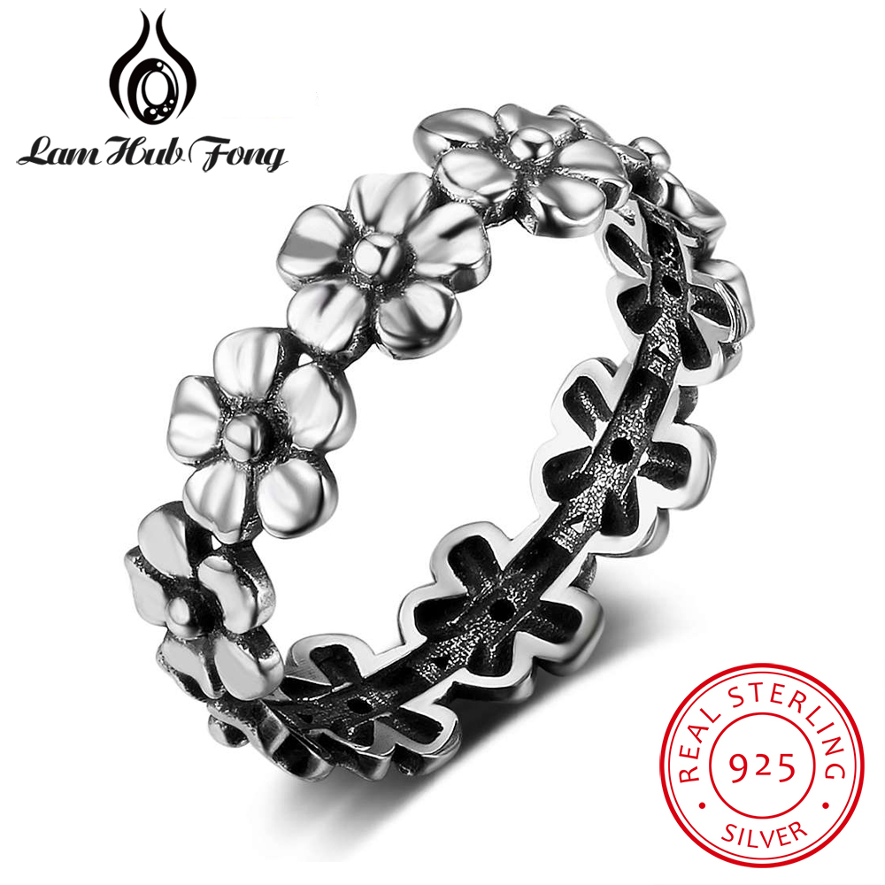 Vintage Flower Stackable Rings for Women Real Pure 925 Sterling Silver Female Finger Ring Retro Trendy Jewelry (Lam Hub Fong)Vintage Flower Stackable Rings for Women Real Pure 925 Sterling Silver Female Finger Ring Retro Trendy Jewelry (Lam Hub Fong)