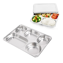 Stainless steel insulation plate seal tray bento lunch box insulated Thermal Food Container Tableware dinner plates