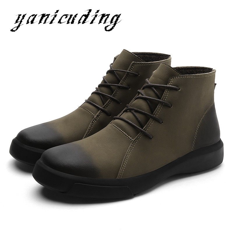 New Casual Man Combat Ankle Boots Soft Leather Flats Chelsea Boots Warm Motorcycle Snow Boots Martin Man Shoes Large Size 48