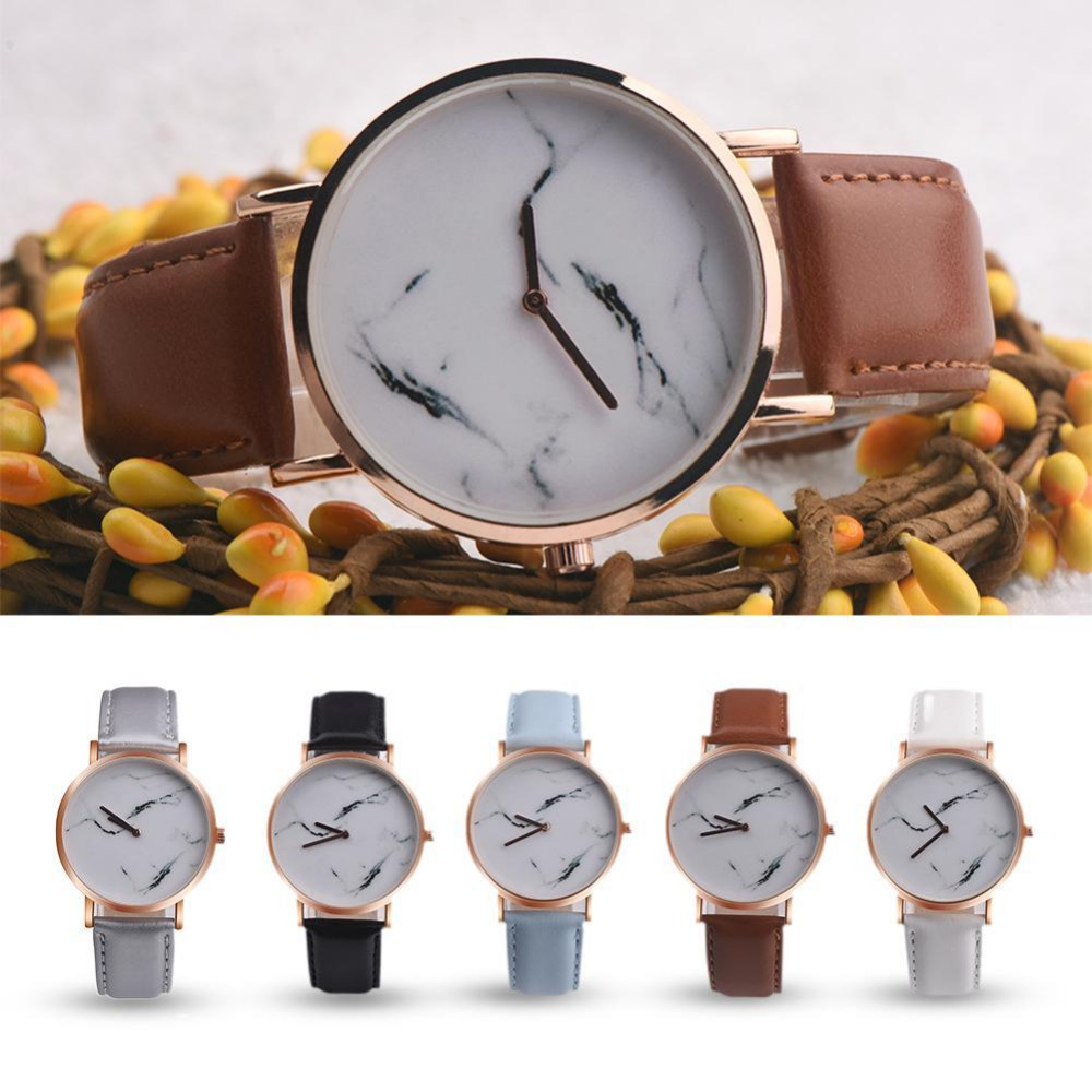 Simple Style Marble Watches Hot New Fashion Marbling Stripe Creative Quartz Watch Men Women Wristwatches Genuine Leather Clock