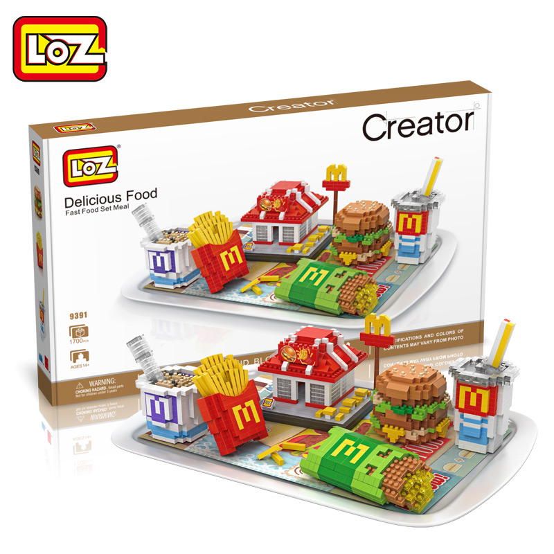 LOZ Diamond Blocks Sushi / Fast Food Set Meal Building Block Food Fries Hamburgers Assembly Model Bricks Toys DIY Toy Gifts loz 9402 transformation optimusprime diamond bricks minifigures building block best legoelieds toys