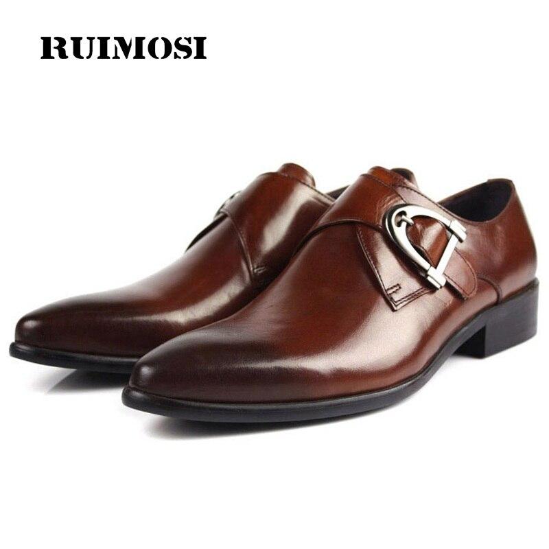 RUIMOSI Basic Handmade Formal Dress Shoes Luxury Brand Genuine Leather Oxfords Pointed Toe Men's British Designer Flats FD67
