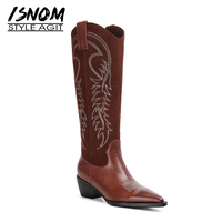 ISNOM High Heels Western Boots Women Knee High Boots Pointed Toe Cow Leather Shoes Female Embroider Cowboy Shoes Ladies Autumn