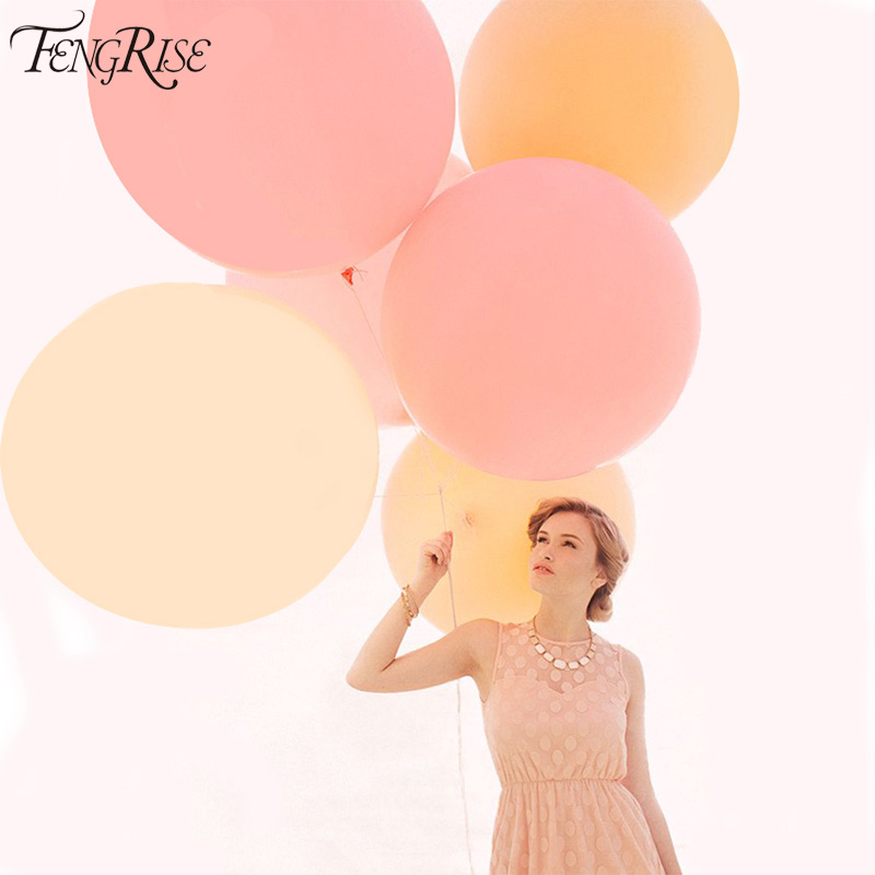 FENGRISE 90cm Wedding Car Decorations Heart Round Air Balloons Jumbo Giant Latex