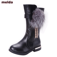 Genuine Leather Boots for Girls Winter Flower Fringe boots kids Snow Boots Children High Plush School Shoes 3 14 Year Old red