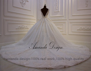 Image 4 - Amanda Design Hohe ende Angepasst Low Cut Tiefen V Sexy Luxus Backless Hochzeit Kleid