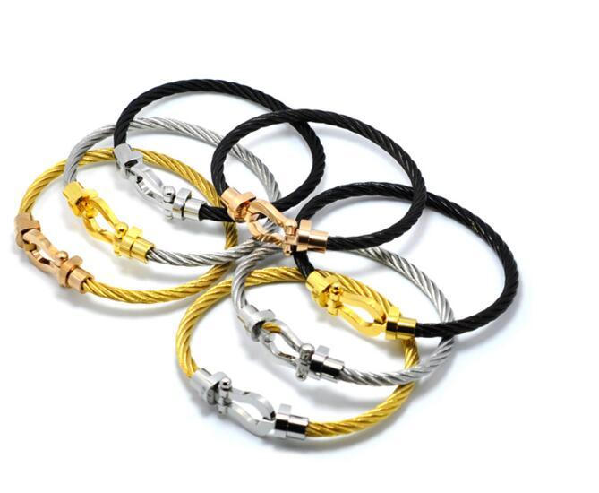 NANBO luxury brand New Male Bracelets bangles Magnet Buckle Cable Wire Bracelet Men Women U Shape Leather Bracelets SBY1896