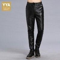 Real leather Male Pantalon 2018 New Autumn High Street Business Classic Harem Male Trousers Biker Slim Skinny Pencil Pants Man