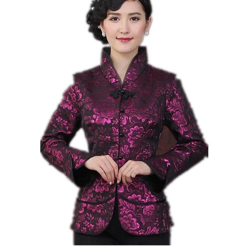 Púrpura estilo de la tradición china chaquetas delgado elegante capa de la chaqu