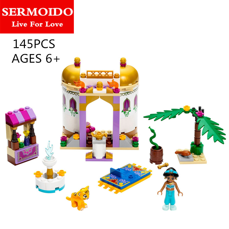 SERMOIDO 145 Pcs 10434 Princess Series Jasmine's Exotic Palace Building Brick Blocks Girls Friends Toys Compatible Kids Toy Gift new bela friends series girls princess jasmine exotic palacepanorama minifigures building blocks girl toys