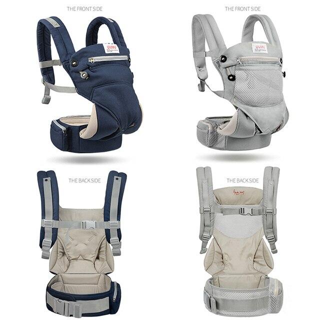 UUMU Cotton Breathable Ergonomic Baby Backpacks Carrier Slings Wrap Holder Hipseat Shoulder Waist Belt Sling Backpack Gear Ring 4