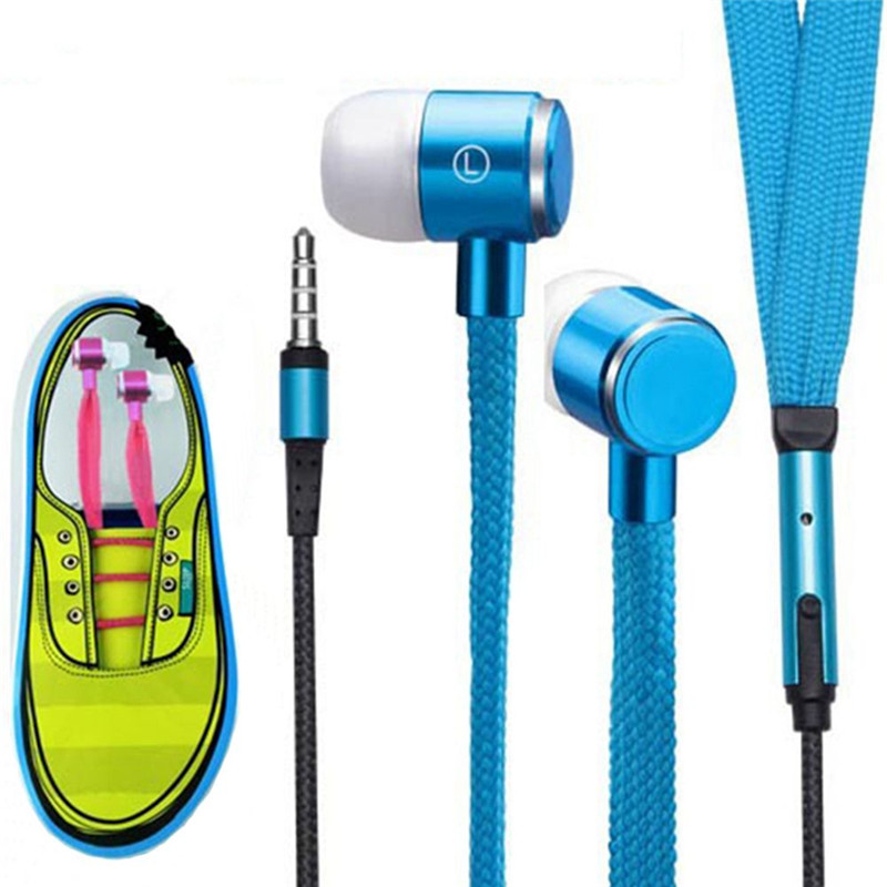 Fashion Shoelace Earphone Metal Headphone Shoelace Headset HD Music Earpieces With Microphone For iPhone Xiaomi Samsung