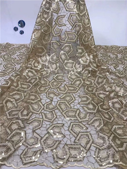 Latest net lace fabric French embroidery tulle material with sequins for evening dress PDN484(5yards/pc) multi color