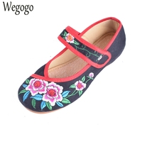 Size 34 41 Spring Summer Woman Old Peking Cloth Shoes Chinese Flower Embroidery Casual Dancing Flats
