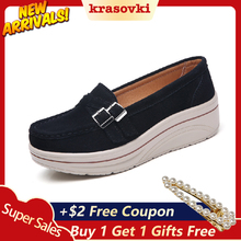 Krasovki Leather Slipons Platform Shoes Flats For Women Slip on Creepers Sneakers moccasins Suede Loafers new sneakers