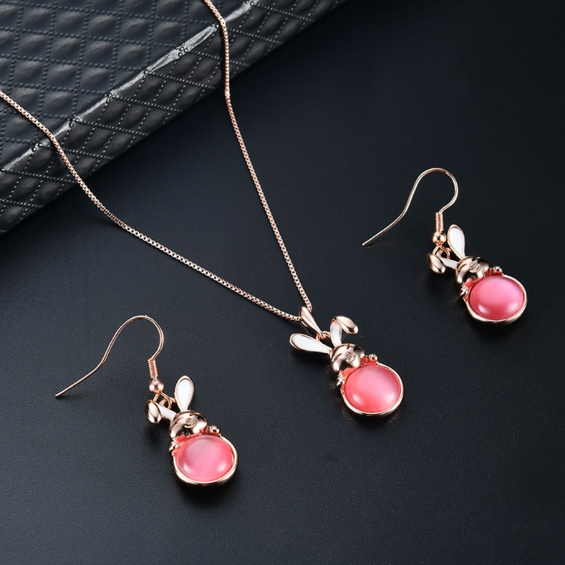 1 Set Necklace Earrings Bride Wedding Women Jewelry Casual Luxury Rabbit Pendant