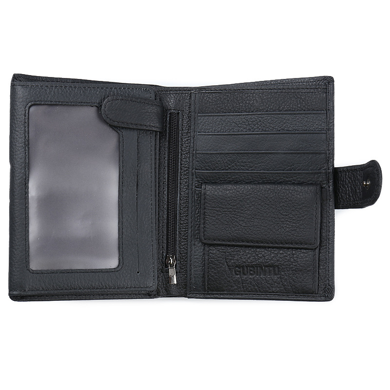 Fashion Male Vertical Card Holder Genuine Leather Multifunctional Short Men Wallet Solid Button Snap Purse