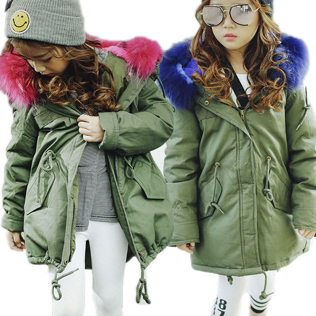 Children Winter Jackets Girls Boys Down Coat Winter Kids Jackets Big Fur Collar Children's Thick Warm Long Down Jacket Parkas