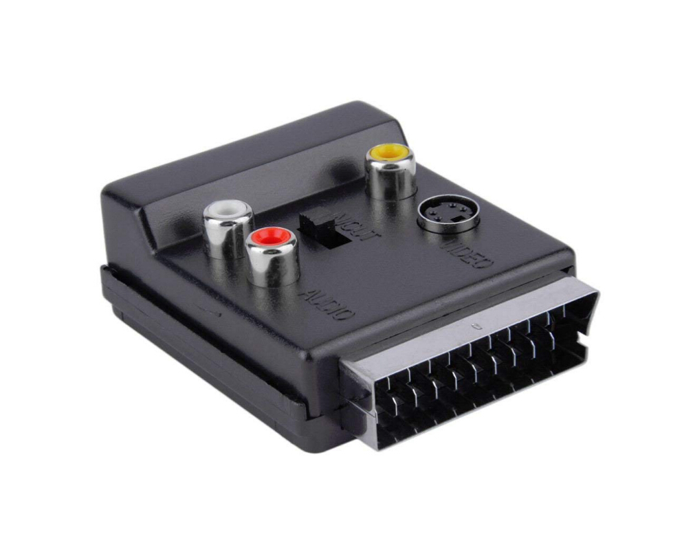 Hot Deal Newest Switchable Scart Male To Female Scart To 3 X RCA Phono Sockets 4-pin S-video Socket Audio Adapter Convector