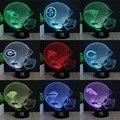 HUI YUANA variedade de estilos Lâmpada do capacete de futebol 3D Led Visual para As Crianças Tocar USB Mesa Lampara de Dormir Do Bebê Nightlight