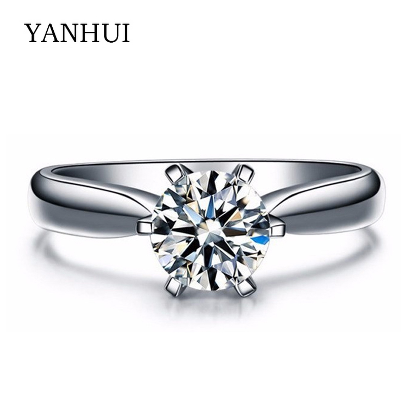 have 18krgp stamp white gold filled engagement ring hearts and arrows 1 carat cz diamant wedding rings for women jzr003 - Inexpensive Wedding Rings