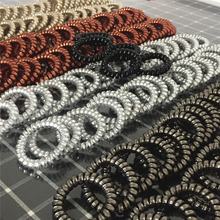 Fast Ship 20Pcs/lot 5Colors High Elasticity Telephone Wire Bracelet Spiral Band Coil Women Hair Ponytail Holder