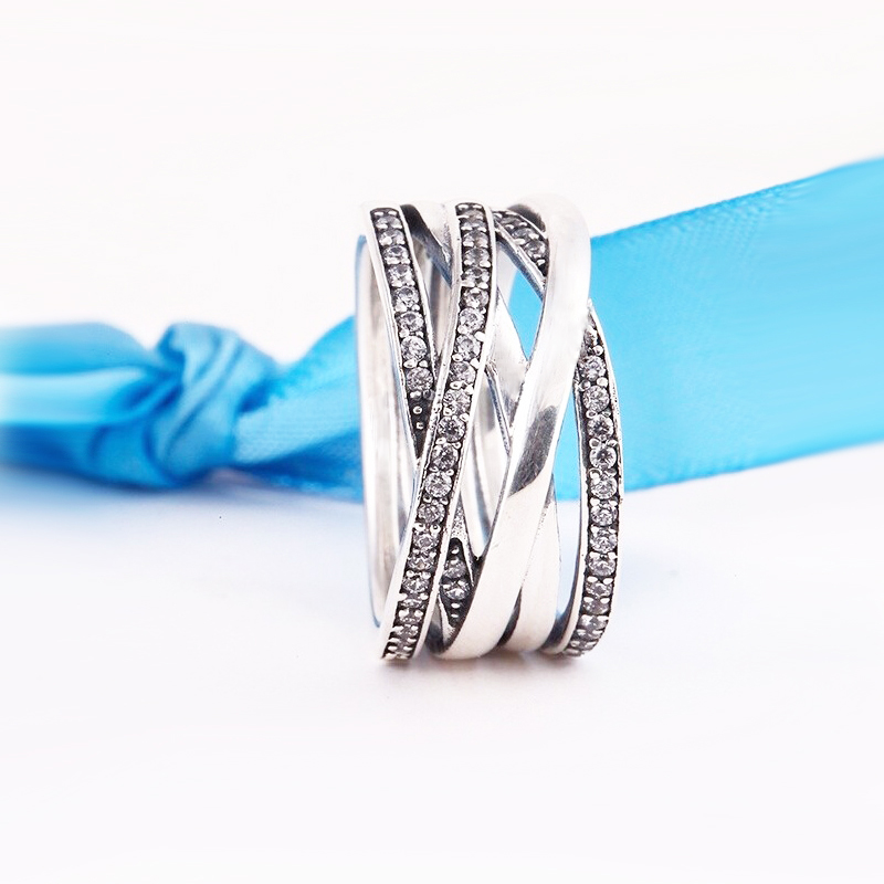 Compatible with charm brands Jewelry 925 Sterling Silver Entwined Round Rings Antique Pave Zircon Rings For Women Wedding