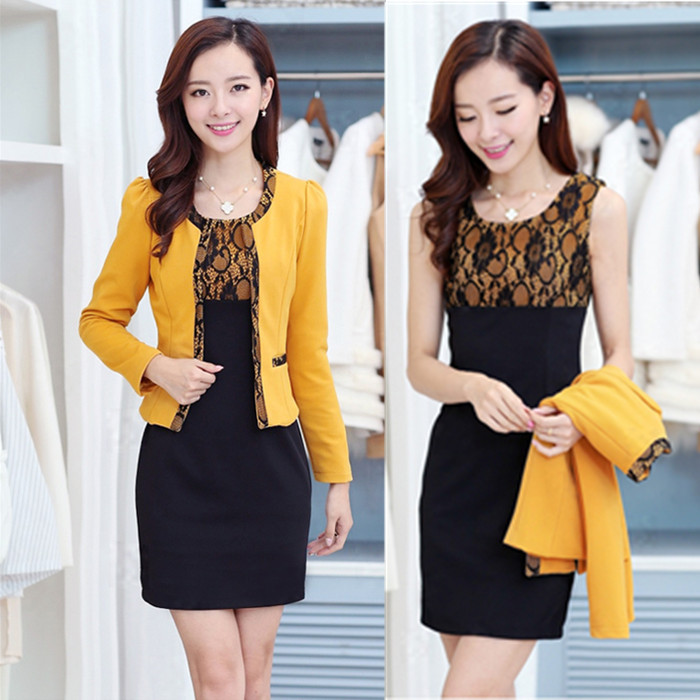 M-3XL-Free-Shipping-Spring-or-Fall-New-Two-piece-Dress-Long-Section-Large-Yard-Women