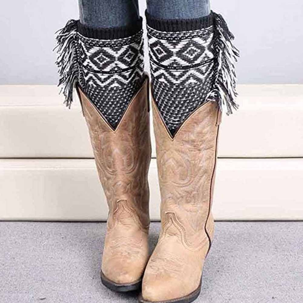 England style Tassel Vintage plaid women autumn winter fashion knitted short leg warmers stretch boot socks cuff lady leg topper